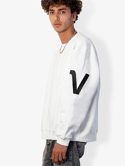 Vonberg Streetwear V-Type Premium Sweatshirt in White