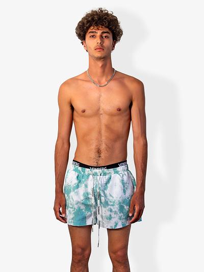 Vonberg Streetwear Tye-Dye teal Green Premium Swim Short